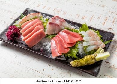 Japanese gourmet sashimi(raw sliced fish, shellfish or crustaceans)