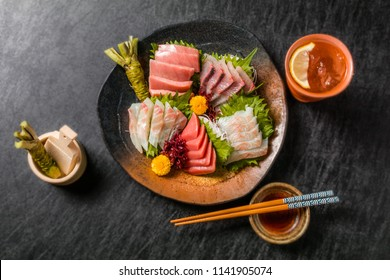 Japanese gourmet sashimi(raw sliced fish, shellfish or crustaceans)