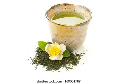 japanese green tea on a white background