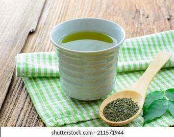 japanese green tea on wooden