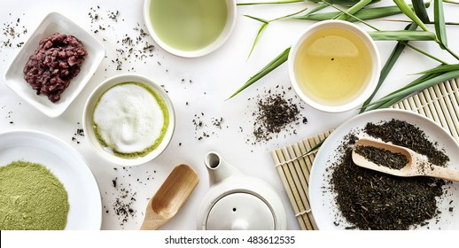 japanese green tea set on white table background. over light
