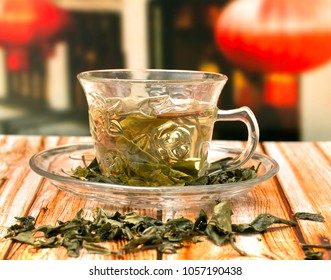 Japanese Green Tea Showing Drink Orient And China