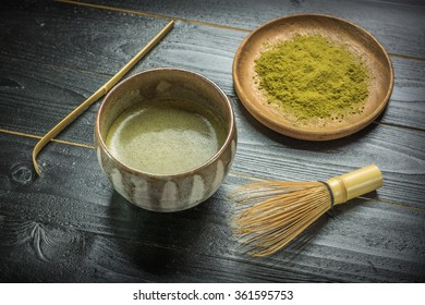 Japanese green tea and traditional utensil