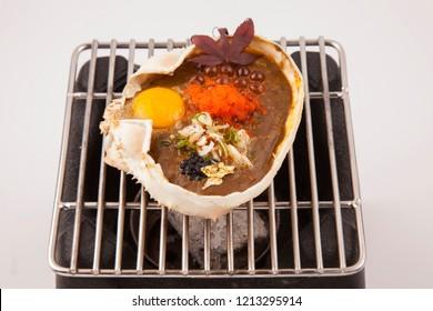Japanese grilled crab , kani miso yaki