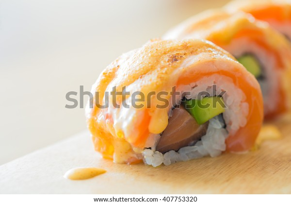 Japanese Grilled Salmon Maki Sushi Salmon Stock Photo Edit Now 407753320