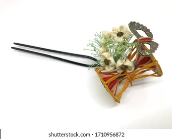 Japanese hair pin,flower and japanese drum decorated, isolated on the white background,