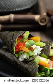 Japanese hand roll sushi, temaki closeup shot