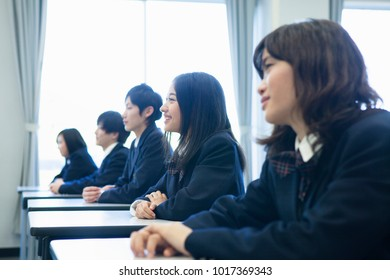 Japanese high school students in class