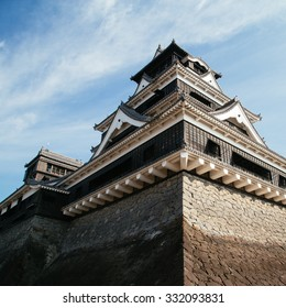 Japanese historic castle with blue sky.