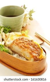 Japanese homemade bento, Tonkatsu on rice