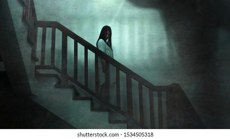 Japanese horror movie style portrait of young strange Asian girl at night in dark solitary hotel staircase looking weird and shady in fear and scary Halloween tribute