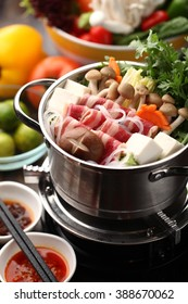 Japanese hot pot with delicious food ingredient