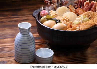 Japanese hotchpotch and Japanese sake