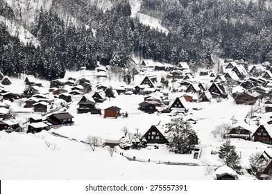 japanese house in snow at shirakawago village