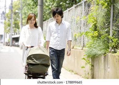Japanese Husband and wife walking