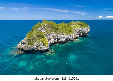 Japanese Island in the Gulf of Thailand near Angthong national marine park sunny day tropical islands with copy space