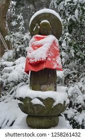 Japanese Jizo Statue in Winter