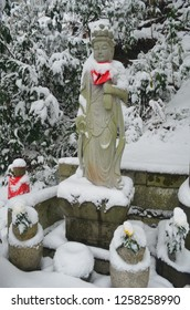 Japanese Jizo Statues Covered in Snow