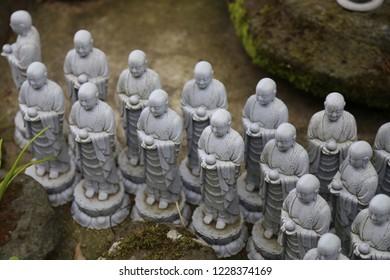 Japanese Jizo Statues in Kamakura