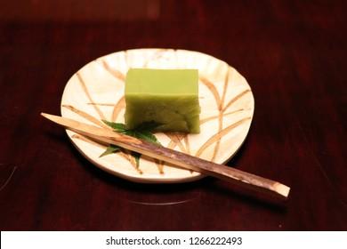 Japanese Kaiseki  Meal, Motcha Green Tea Dessert, Japanese food, Kyoto