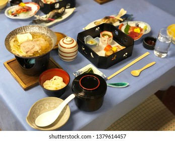 Japanese Kaiseki set for welcome dinner with ryokan's guest. Ryokan is Japanese style hotel.