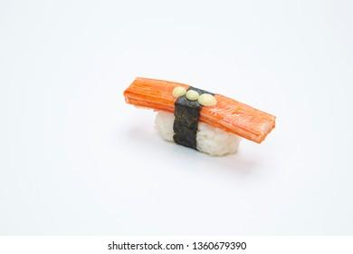 Japanese kani sushi on white background.