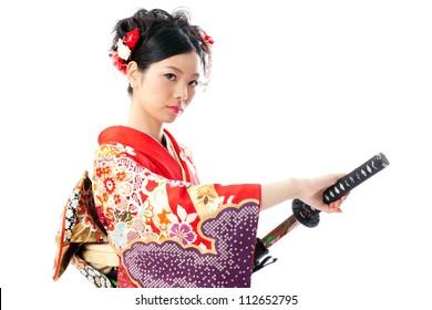 japanese kimono woman with samurai sword on white background