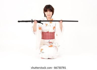 japanese kimono woman with samurai sword