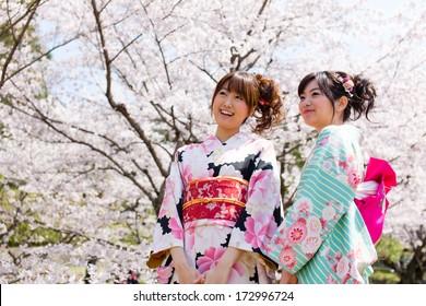 japanese kimono women and cherry blossom