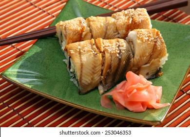 The Japanese kitchen. Rolls with the eel