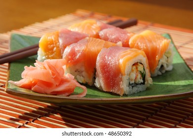 The Japanese kitchen. Rolls with  salmon and  tuna
