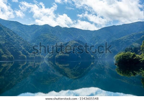Japanese lake. View of Lake Okutama