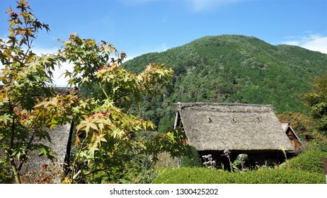 Japanese landscape with houses with a thatched roof.