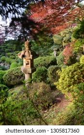 Japanese lantern in the secret Japanese garden