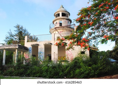Japanese Lighthouse, Saipan An abandoned Japanese lighthouse sits in Navy Hill, Saipan overlooking Garapan and the Pacific Ocean. It was listed in the National Register of Historic Places in 1974.