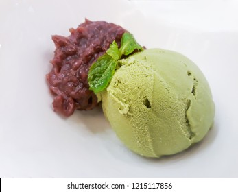 Japanese Macha ice-cream with boiled red bean.