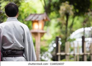 Japanese man wearing a kimono