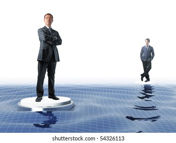 japanese manager and young businessman on virtual sea web