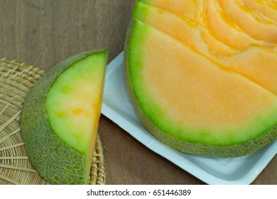 Japanese melon slide fruit background