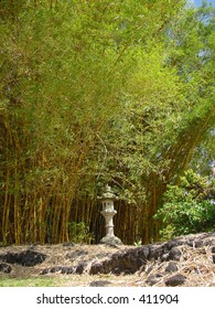Japanese memorial with backing bamboo forest in Queen Liliuokalani Park, Hilo, Hawaii.
