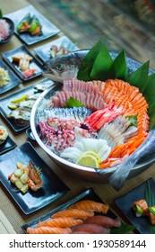 Japanese Menu - Super big plate of sashimi with whole salmon and Japanese food