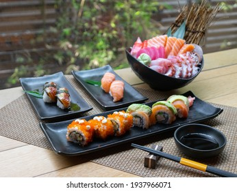 Japanese Menu - Variety of Japanese sushi on the table