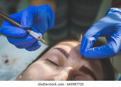 Japanese microblading. Eyebrows. Beauty salon. Microblade treatment for woman beauty. Knife for microblading.