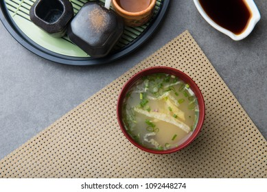 japanese miso soup flat lay