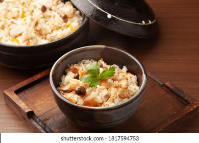 Japanese mixed rice with burdock root, shiitake mushrooms and chicken