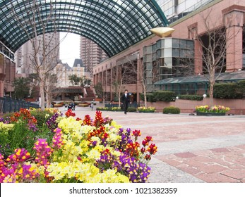 Japanese modern architecture and beautiful flower and beer garden near Ebisu station