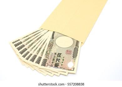 Japanese money in envelope