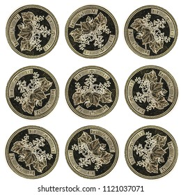 Japanese money, metal coins on white background. Yen, JPY currency, pattern.  Finance, banking and business in Japan concept.