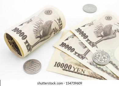 Japanese money on the white background.