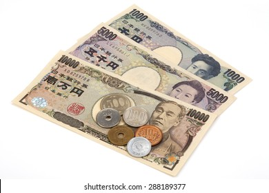 Japanese money yen banknote and coins 10 000 5 1 500 coin 100 50 1yen